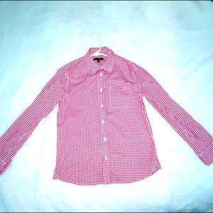 Boys E-Land Red/White Button Down Shirt Sz 12